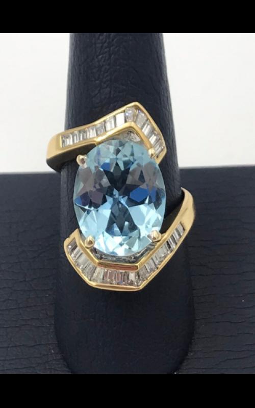 18k YG Aquamarine and Diamond Ring product image
