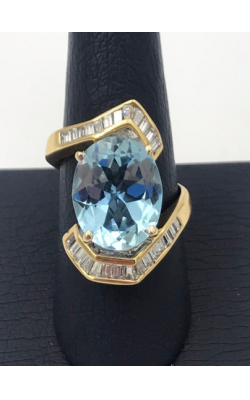 18k YG Aquamarine and Diamond Ring product image