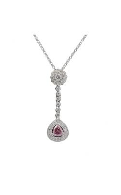 18k White Gold & .17 Pear Shape Pink Diamond Pendant product image