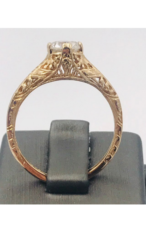 14k YG Filigree Reproduction Round Diamond Ring product image