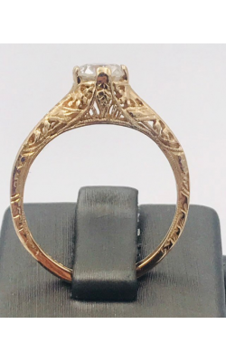 14k YG Filigree Reproduction Round Diamond Ring product image