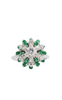 14k White Gold .22 Rd & .36 Emerald Cluster Ring product image