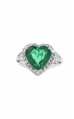 Platinum 4.22ct Heart Shaped Emerald & .72 Diamond Ring product image