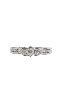 10k White Gold $ .10ct Round + .29 Mil Diamond Engagement Ring product image