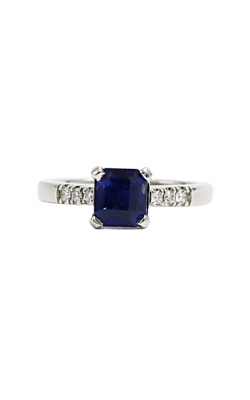 Platinum & 1.59ct Emerald Cut Ceylon Blue Sapphire & Diamond Ring product image
