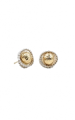 14k Yellow Gold & Sterling Silver Cable Wrap Studs product image