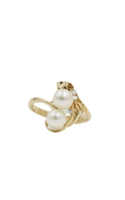 14k Yellow Gold 6mm Pearl & Diamond Ring product image