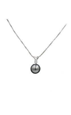 14k White Gold 8mm Black Pearl & Diamond Pendant product image