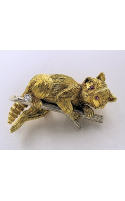 18K Two-Tone Raccoon Broach Pin product image