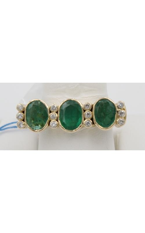 18K Y/G 3 OVAL EMERald/ .24 CTW diamond fashion ring sz 8 product image