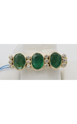 18K Y/G 3 OVAL EMERald/ .24 CTW Diamond Fashion Ring Sz 8 product image