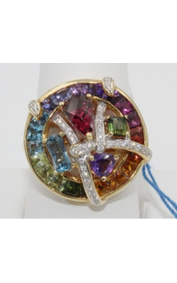 Pre-Owned Like New- BELLARRI 4.45 Ctw Multi-gemstone/.13 Ctw Diamond Cluster Fashion Ring Sz 7 product image
