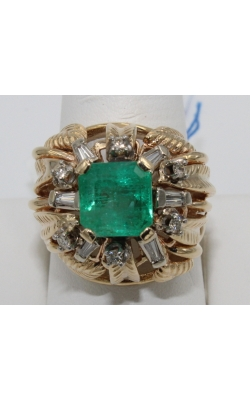 14K Y/G EMERALD/DIAmond fashion ring sz 8.5 product image