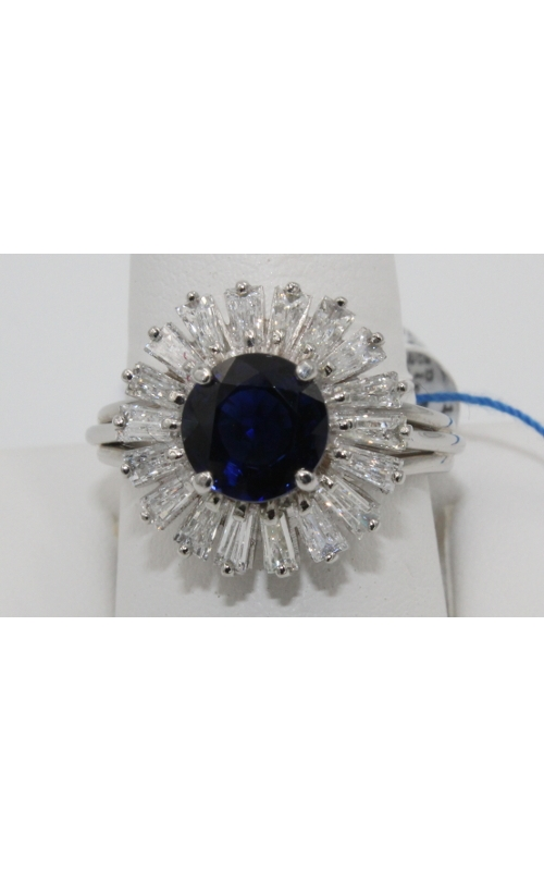 2.56 ct  round SAPPHire center with Baguette DIAmond in PLATinum mounting fashion ring sz 8  product image