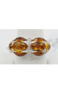 18K W/G 8.57 ct CITRINE/.06 DIAMOND fashion ring sz 7 product image