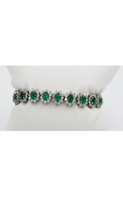 18K W/G 10.24 ct EMRald/7.94 ct DIAmond Tennis Bracelet product image