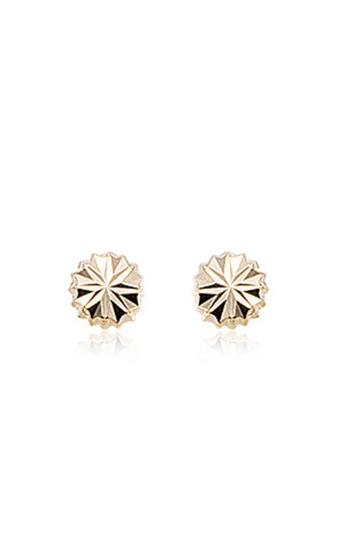 Albert's 14k Yellow Gold Round Fancy Cut Button Earrings 02-612 product image