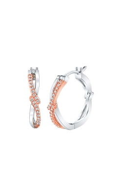 Albert's Sterling Silver And Pink Micron .10ctw Huggie Earrings 2225580107P-01 product image