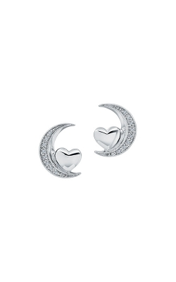 Albert's Sterling Silver Heart And Moon Earrings 2226880057W product image