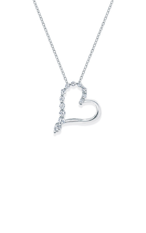 Albert's Sterling Silver 1/10ctw Diamond Heart Necklace 2416580107W-04 product image