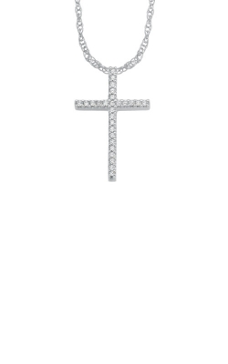 Albert's 10k White Gold .10ctw Diamond Cross Necklace 2424970100W product image