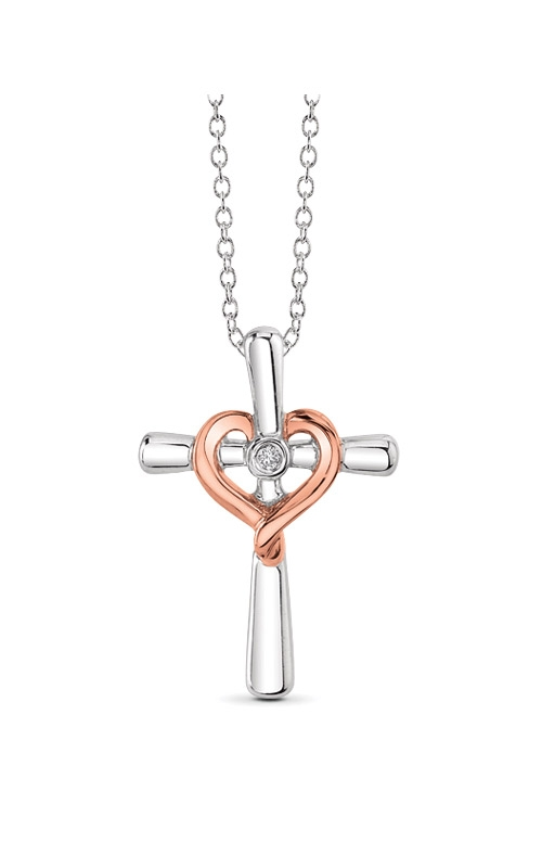 Albert's Sterling Silver & Rose Gold Cross Pendant 2439600027W0P product image