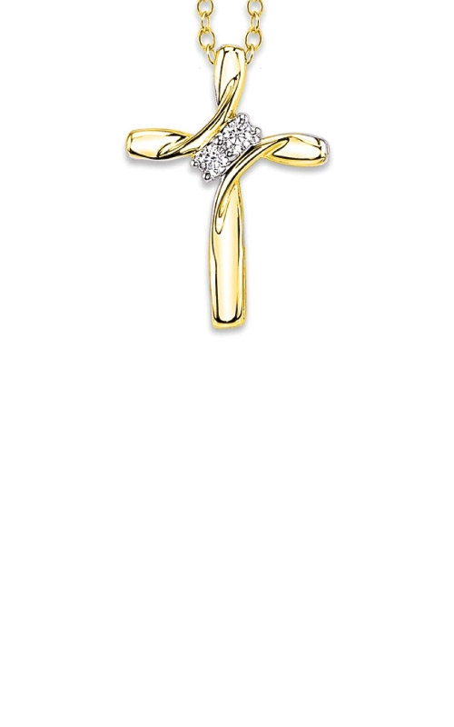Albert's 10k Yellow Gold .10ctw 2 Stone Cross Necklace 2440710100Y-03 product image