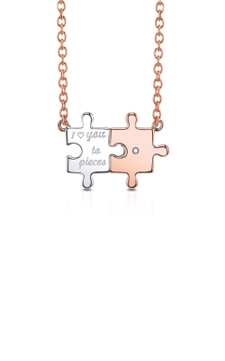 Alberts Sterling Silver & Pink Micron Plated Diamond Puzzle Pendant 2444850017P product image