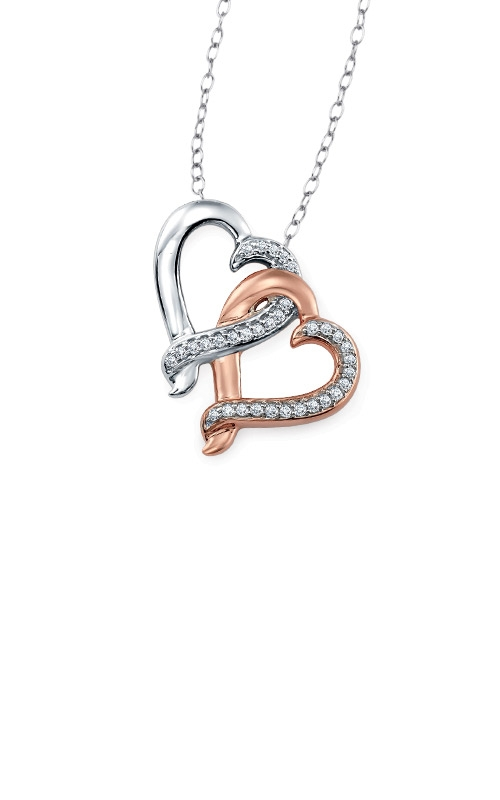 Albert's Sterling Silver and Rose Gold Double Heart Necklace 244530107P product image