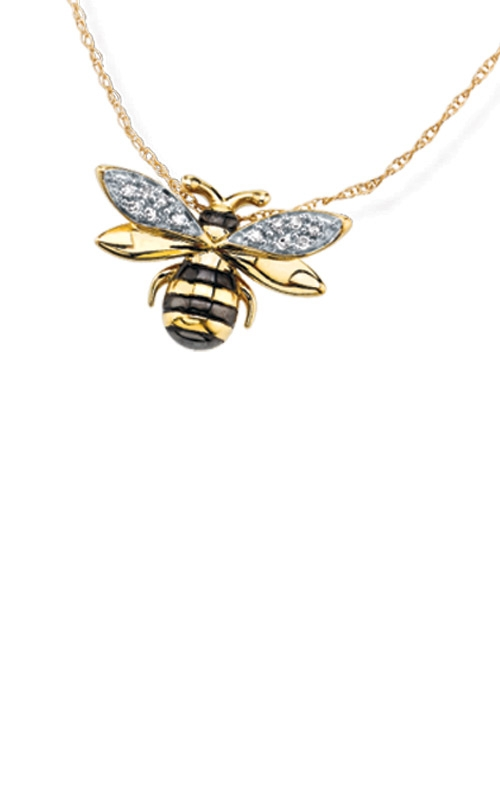 Albert's Sterling Silver & 10k Yellow Gold Plated Diamond Honey Bee Pendant 2446650030Y product image