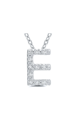 Albert's Sterling Silver .05ctw E Initial Necklace 244787005-E product image