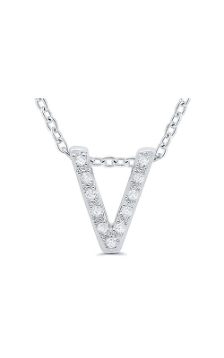Albert's Sterling Silver .05ctw V Initial Necklace 244787005-V product image
