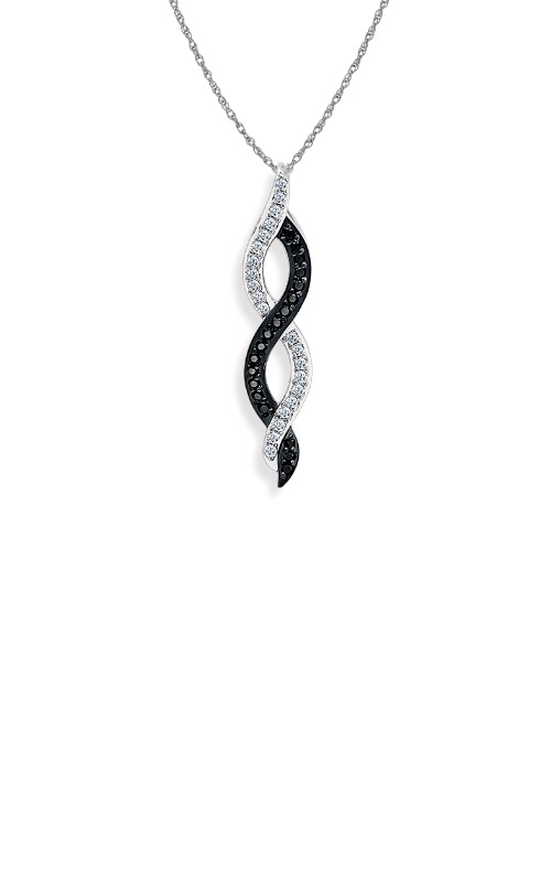 Albert's 10k White Gold 1/8ctw Black and White Diamond Necklace 2449350120W product image