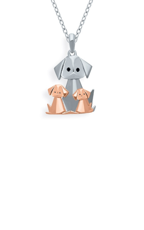 Albert's Sterling Silver & Pink Origami Cat Pendant 2456070017P-01 product image