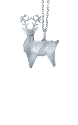 Albert's Sterling Silver Origami Diamond Reindeer Necklace 2457560017W product image
