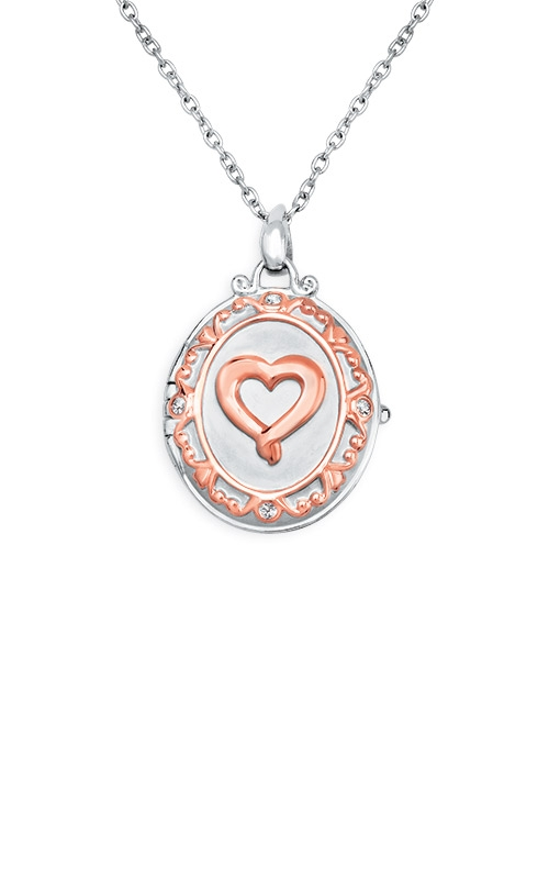 Albert's Sterling Silver and Pink Micron Diamond Locket Necklace 2457570037P product image