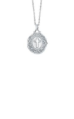Albert's Sterling Silver .03ctw Diamond Cross Locket Necklace 2457580037W product image
