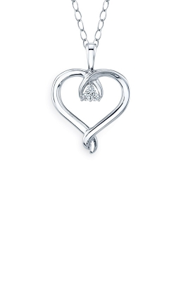 Albert's Sterling Silver .05ctw Diamond Heart Necklace 2459140057W product image