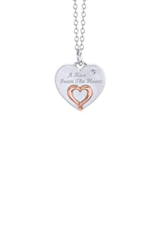 Albert's Sterling Silver & Rose A Kiss From The Heart Necklace 2459710017P product image