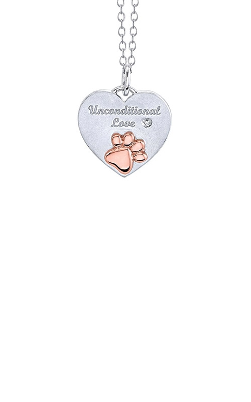 Albert's Sterling Silver & Rose Unconditional Love Paw Print Necklace 2459720017P product image