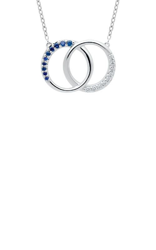 Albert's 10k White Gold 1/5ctw Blue Sapphire and Diamond Necklace 2463340207W product image
