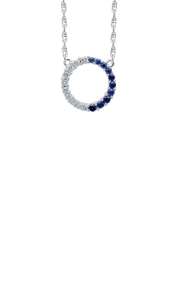 Albert's 10k White Gold 1/5ctw Diamond and Blue Sapphire Circle Necklace 2463400200W-01 product image