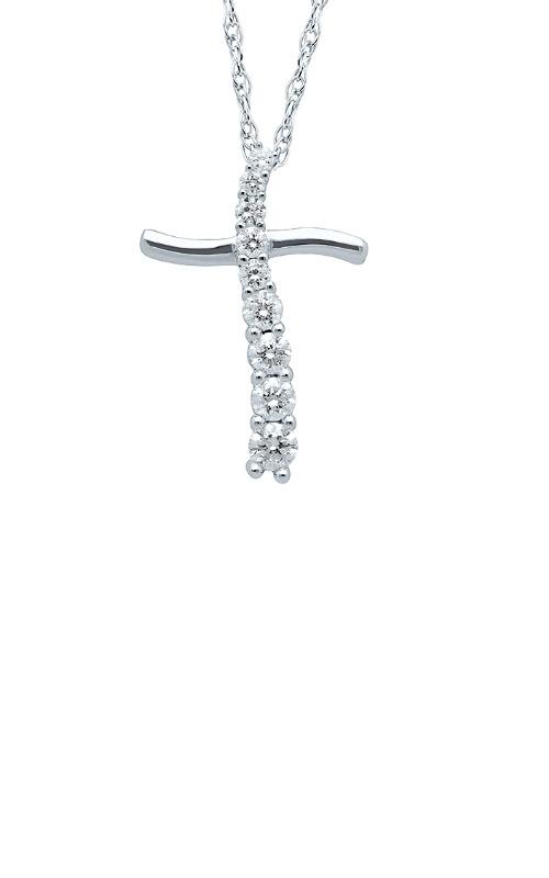 Albert's 10k White Gold 1/4ctw Diamond Journey Cross Necklace 246363025W product image