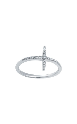 Albert's 10k White Gold .12ctw Diamond Cross Ring 2538470120W product image