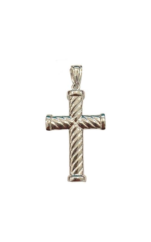 Albert's 14k White Gold Ribbed Cross 2906 product image