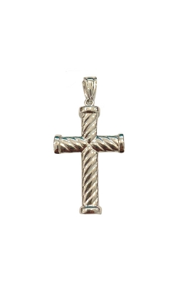 Albert's 14k White Gold Ribbed Cross 2906 product image