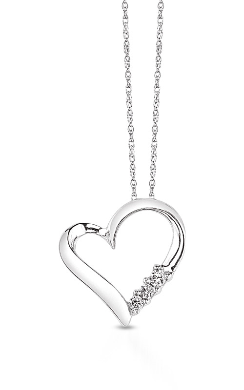 Albert's 10k White Gold Diamond Heart Necklace 2414730100W-01 product image