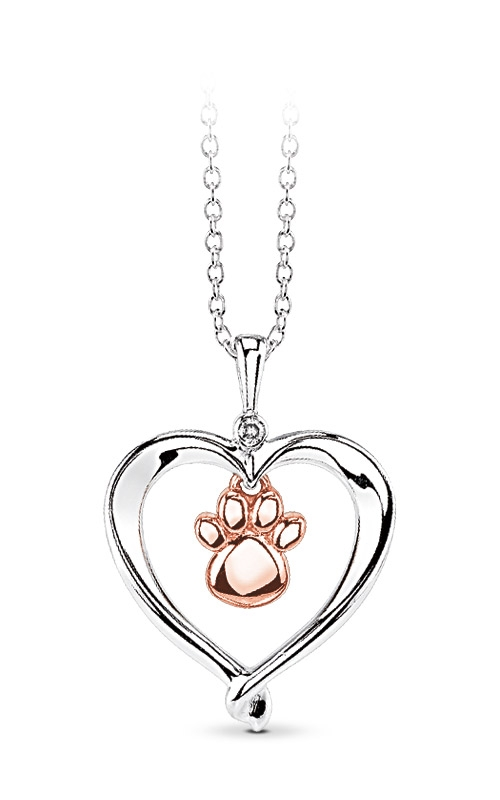 Albert's Sterling Silver & 10k Rose Gold Dog Paw Heart Necklace 2428670017WOP product image