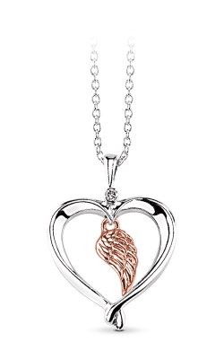 Albert's Sterling Silver & 10k Rose Gold Wing Heart Necklace 2428680017WOP product image