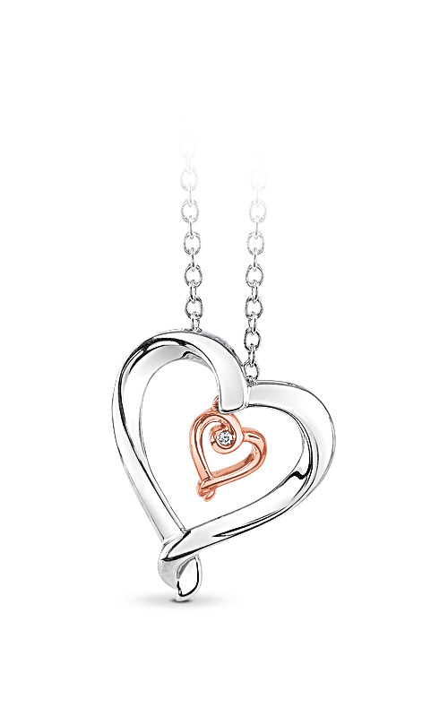 Albert's Sterling Silver and 10k Rose Gold Diamond Heart Necklace 2428930017W0P product image